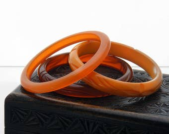 Antique Bakelite Bangle Set | Three Bakelite Bangles in Shades of Orange & Amber | Translucent, Opaque Bakelite Bracelets | Vintage Bakelite