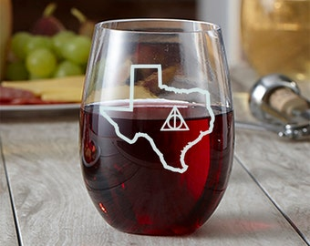 State Outline Deathly Hallows Wine Glass - Choose Your State - Etched Wine Glass - Potter Gift - Stemless Wine Glass - Always - State Love