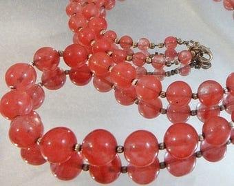 ON SALE Vintage Rose Quartz Pink Art Glass Necklace. Rose Quartz. Silver Beads. 30 inches.