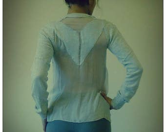 Upcycled Gray Cashmere & Chiffon Hoody Cardigan                        ReMade in England UK