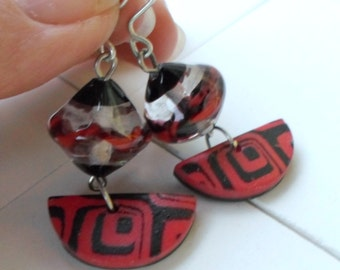 Lampwork Earrings, Glass and Polymer Clay Earrings, OOAK lightweight earrings, Valentine's Day Gift for her, Bohemian Handmade Jewelry