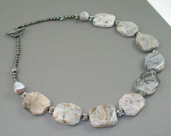 Bamboo Jasper Necklace, Eighteen Inch Strand of Gray, Cream and Black Jasper Gemstone Beads