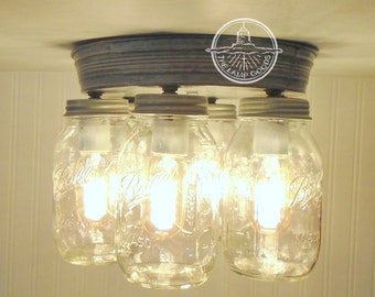 Rustic Mason Jar CEILING LIGHT Fixture New Quarts-Flush Mount Ceiling Lighting Fixture Modern Farmhouse Chandelier Rustic Kitchen Lamp