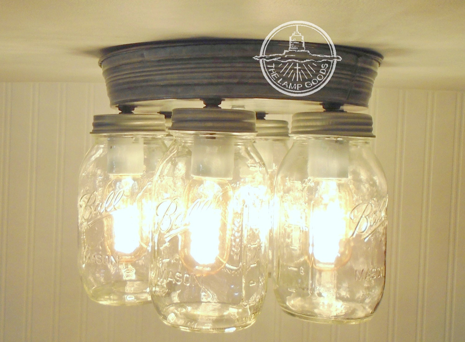 Rustic Mason Jar Ceiling Light Fixture New Quarts Flush Mount