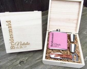 Bridesmaid Gift Ideas, Custom Engraved Bridesmaid Gift Box, Personalized Flasks for Bridesmaids, Bridal Party Gift Sets, PRSE Box