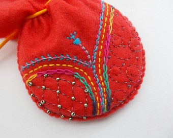 Jewelry Pouch Red Felt Drawstring Bag with Abstract Embroidery Handsewn