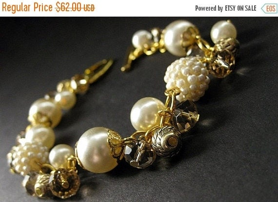 HOLIDAY SALE Ivory Wedding Bracelet in Cream Pearls and Taupe Crystals. Handmade Bridal Jewelry by Gilliauna