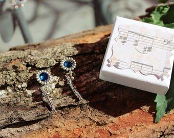 Flute Earrings, Sterling Silver Earrings, Birthstone Earrings, Sapphire Earrings, Music Earrings, 8th note earrings, Prom, Graduation, Mom