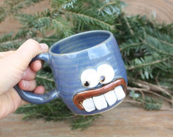 Geeky Guy Beer Mug. Funny Nerdy Office Coworker Boss Gift Coffee Cup. Nerdy Gifts for Him. Humorous Blue Face Mug. Ceramic Pottery Cups Mugs