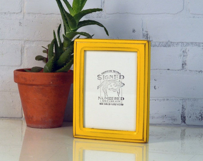 5x7 Picture Frame in Double Cove Style with Vintage Buttercup Yellow Finish - IN STOCK - Same Day Shipping - 5 x 7 Frame Solid Hardwood