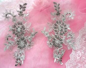 """Appliques Floral Venise Lace Pewter Mirror Pair Sequin Beaded 7"""" (DH50X-pt)"""
