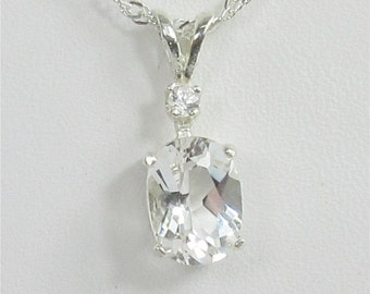 Danburite 8x6mm 1.35ct With Danburite Accent Sterling Silver Pendant Necklace Natural Untreated