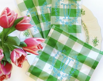 Green Gingham Monogram Cocktail Napkins