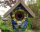 STAINED GLASS Giant Flower MOSAIC Birdhouse made to order Pick Your Color