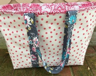 Large girly pink retro reversible oilcloth tote bag