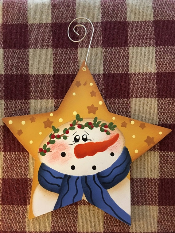 Snowman yellow star hand painted wood christmas ornament