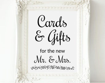 Printable Cards and Gifts Sign, Wedding Gift Table Sign, Wedding Card Table Sign, Gifts for Mr and Mrs, Wedding Card Box, Rochester