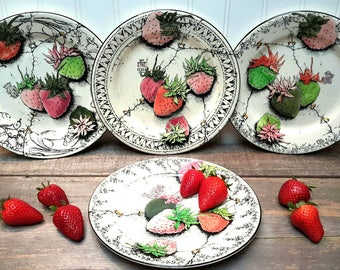Gien French Plates RARE hand painted strawberries collectable set from Gien France set of four