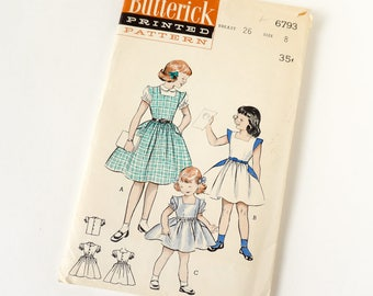 Vintage 1950s Girls Size 8 One Piece Full Skirt Dress and Blouse Butterick Sewing Pattern 6793 Complete / b26 w23 / Casual or Party Dress