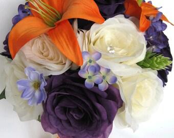 "Wedding Bouquet 17 Piece Package Bridal Silk flower Bouquets ORANGE Lily PURPLE PLUM Wedding flowers decoration Centerpiece ""RosesandDreams"""