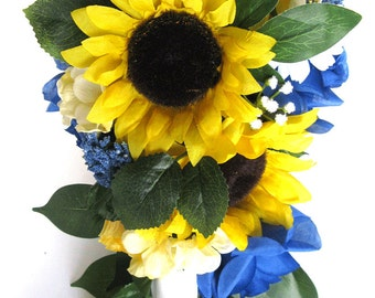 "Wedding Bouquets Bridal Bouquet 17 Piece Package Wedding Silk flower SUNFLOWER ROYAL Cascade Country Wedding Centerpieces ""RosesandDreams"""