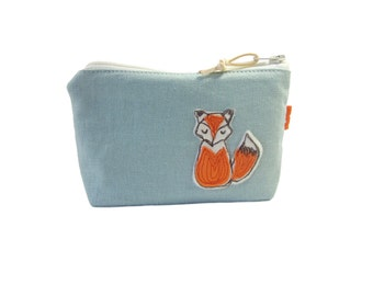 Fox Makeup Bag, Cosmetic Case, Gift for Women, Zip Pouch, Fox Lover Gift, Zipper Purse
