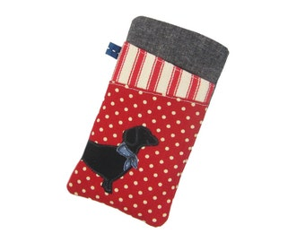 Dachshund Phone Case, Nexus 6P, Galaxy S7 Case, Moto G4 Plus, J5 Case, Red Fabric Phone Pouch, Gift for Girl, LG G5, Samsung S7 Edge