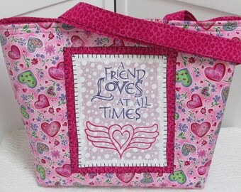 Friendship And Love Large tote bag Pink and Green Hearts Shoulder Bag Girly Pink Purse Ready To Ship