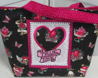 True Love Tattoo Large Tote Bag in Hot Pink and  Black Tattoo Skulls Purse Tattoo hearts and Roses Shoulder bag Ready To Ship