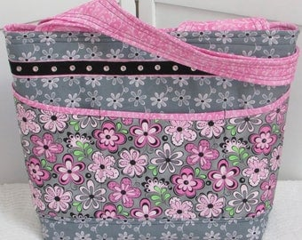 Pink Floral Large Tote Bag Pink and Gray Spring Shoulder Bag Whimsical Flower Purse Summer Beach bag Ready To Ship