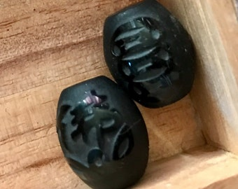 Vintage carved stone beads Asia design black Jet hand carved oblong set of two