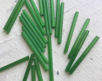 Vintage super  long 30mm  bugle  tube beads green satin glow  30 beads included
