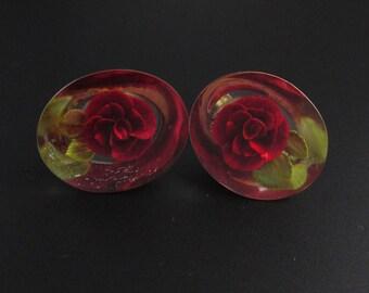 Lucite Flower Earrings, Lucite Rose Earrings, Red Earrings, Lucite Earrings, Flower Earrings, Floral Earrings