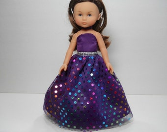 13 inch doll clothes made to fit dolls such as Corolle Les Cheries doll clothes, Purple Dot Fancy Princess Dress, 12-1629