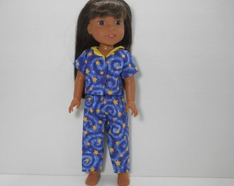 Designed for 14.5 inch dolls such as Wellie Wishers, Starry Night Blue Star Pajamas, 01-1792