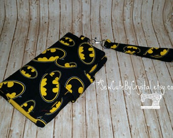 Batman Logo & Yellow Wallet Clutch with 8 Credit Card Slots, 1 Zipper pouch, and 2 Slots for Money