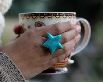 Star ring Ceramic jewelry Ceramic ring Turquoise ring Big ring Statement ring Bold ring Adjustable ring Gift for her Geometric jewelry