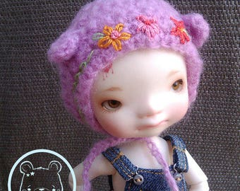Mohair embroidered bear hat for Irrealdoll