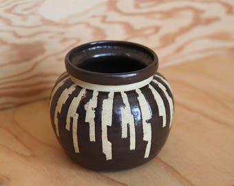 Vintage Hand-Thrown Flower Pot Planter | Southwest Desert Cactus | Brutalist Bohemian Organic Stripes | Vase Utensil Crock | Free Shipping