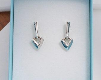 Silver Drop Earrings, Modern Tribal Earrings, Tribal Silver Earrings