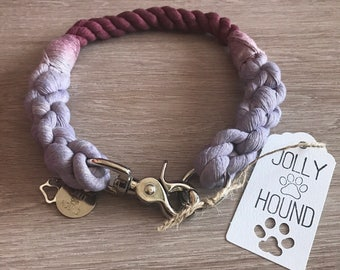 Rope Dog Collar / 12mm ombre collar / dog cotton rope collar / dog collar / 2 color