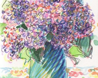 Lilacs, watercolor painting