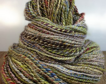 Hand Dyed Sock Yarn, BFL Handspun Yarn, Handspun Wool Yarn - Colorgraze -  4 ounces 172 yards
