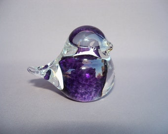 Hand Blown Art Glass  Purple Bird