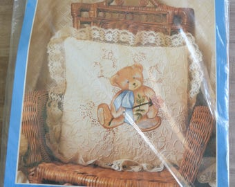 Candmar Designs Candlewicking Embroidery Teddy Bear on Lace Pillow Kit 80217 Sealed Package Never Used