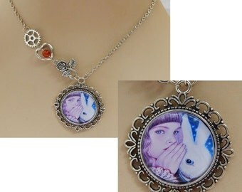 Alice in Wonderland & White Rabbit Pendant Necklace Jewelry Handmade Silver NEW Fairytale