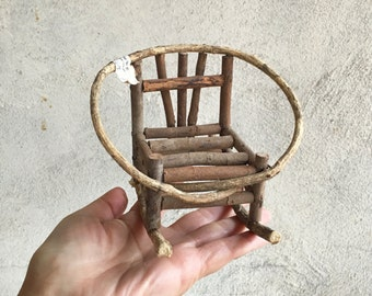 "Vintage primitive 4"" tall twig rocker, miniature rocking chair, bent twig rocking chair, rustic doll furniture, bent willow doll rocker"