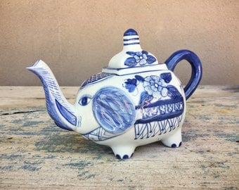 Vintage elephant teapot Made in Holland Dutch blue and white delft teapot elephant decor