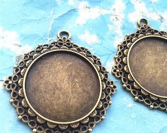 5pcs 41mm antiqued bronze large size heavy style Infinity round bezel tray(30mm cabochon)base metal setting pendants