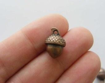 BULK 30 Acorn charms antique copper tone CC9